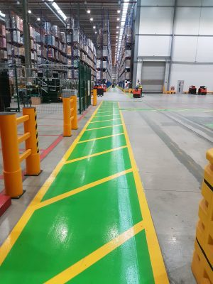 Warehouse safety markings with internal infilled line markings