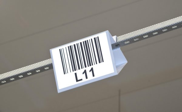 Example of a hanging overhead barcode label