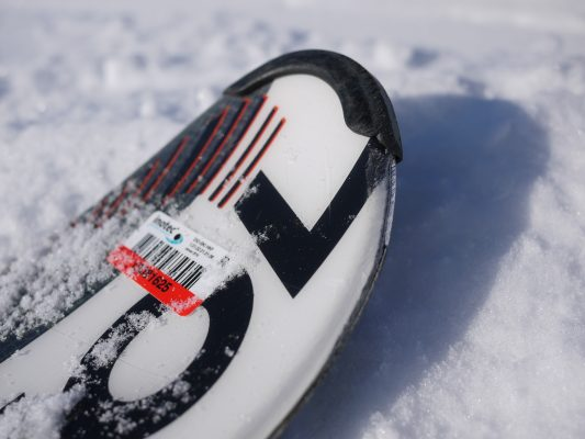 Asset label attached to a snowboard